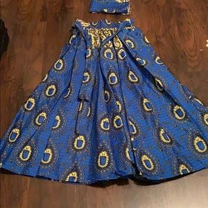 African Tribal Skirt w/ Matching Scarf